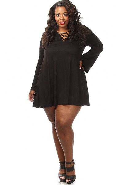 This stylish plus size dress features a v-neck lace up top, Long ...