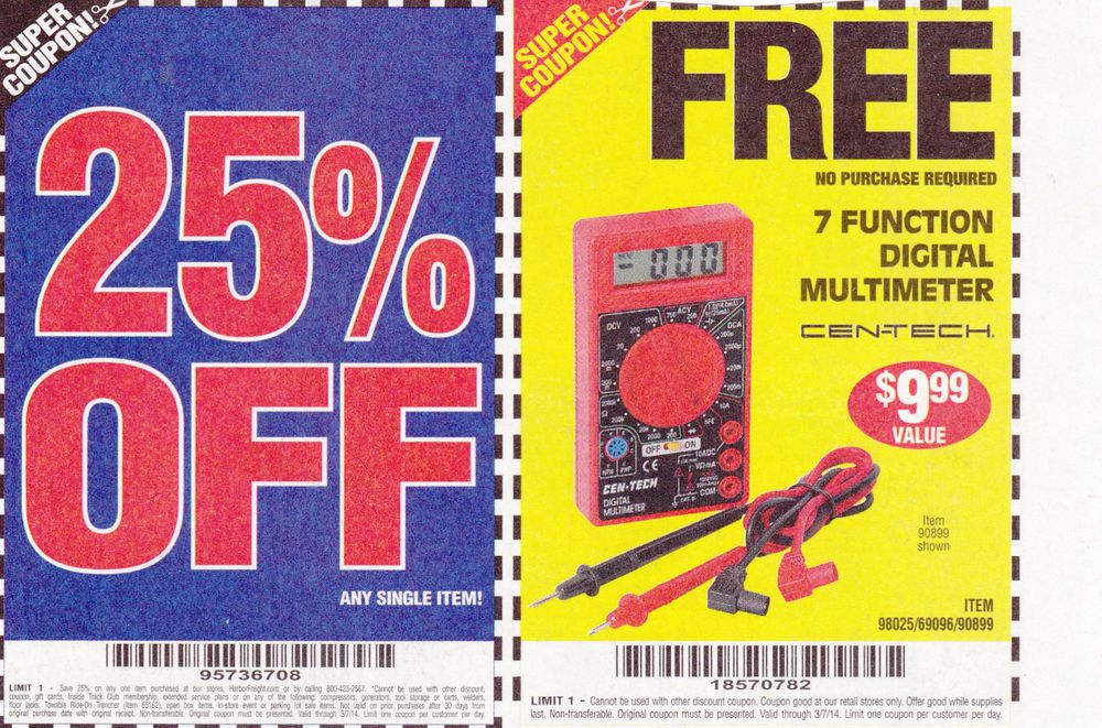 (5) Harbor Freight 20 off Coupon 25 ft Measuring Tape exp