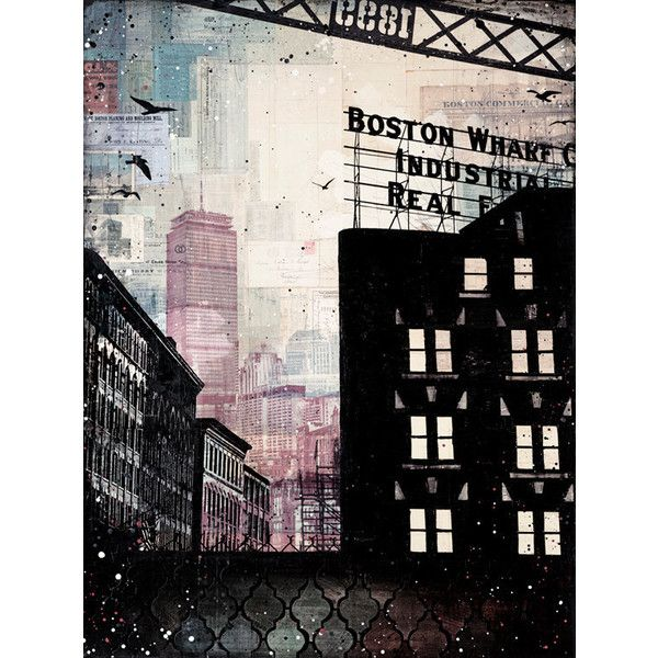 Cloud Cover No. 1 paper print - Boston skyline mixed media painting ($20) ❤ liked on Polyvore featuring home, home decor, wall art, backgrounds, paper paintings, skyline wall art, framed photography wall art, mixed media painting and photography wall art