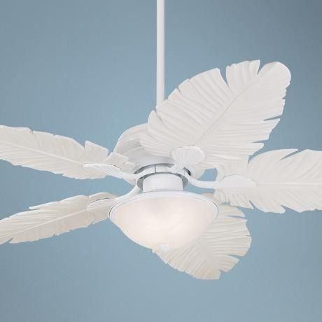 52 Indoor Outdoor Tropical Palm Leaf 3 Speed Ceiling Fan Light White Finish Ebay Tropical Ceiling Fans Ceiling Fan Casa Vieja