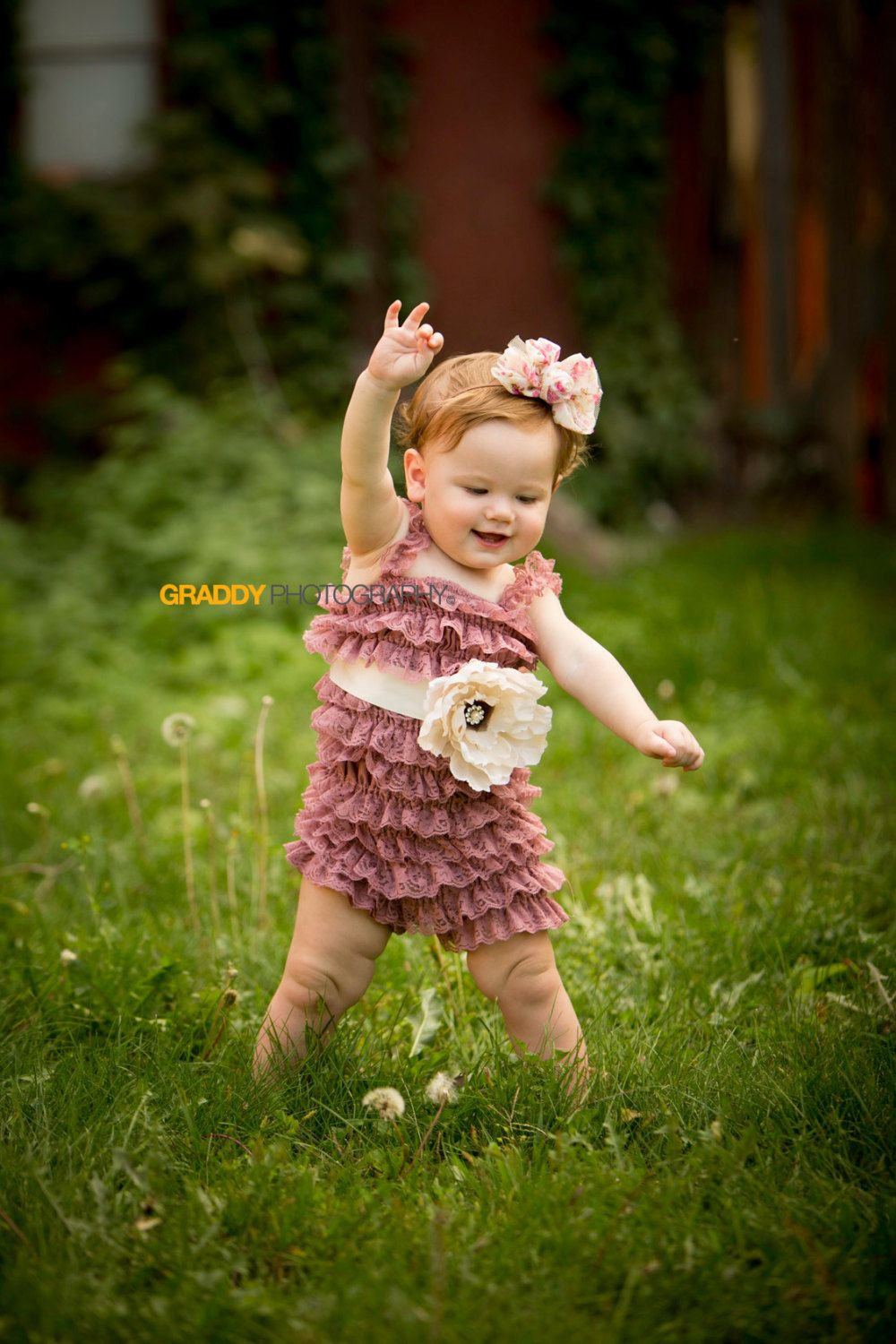c52d82a8ac42 Baby Lace Vintage Romper - Dusty rose colored lace romper with cream satin  sash   a creamy beige handmade silk flower