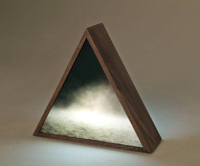 Kirsten Kay Thoen, fog field prism, 2009  duratranz, plexi-glass, walnut and electronic components