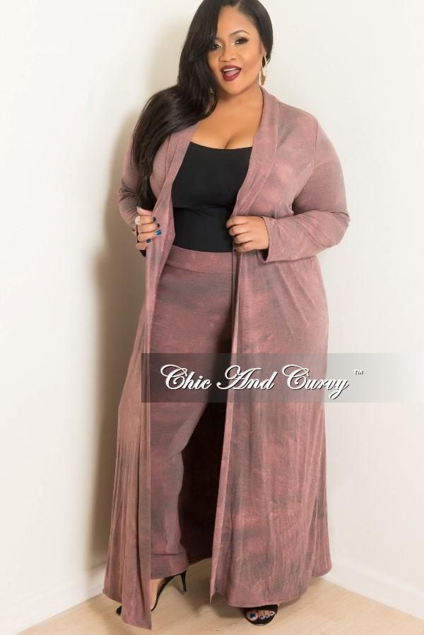d9389251ddf Final Sale Plus Size 2-Piece Duster and Pants Set in Mauve in 2019 ...