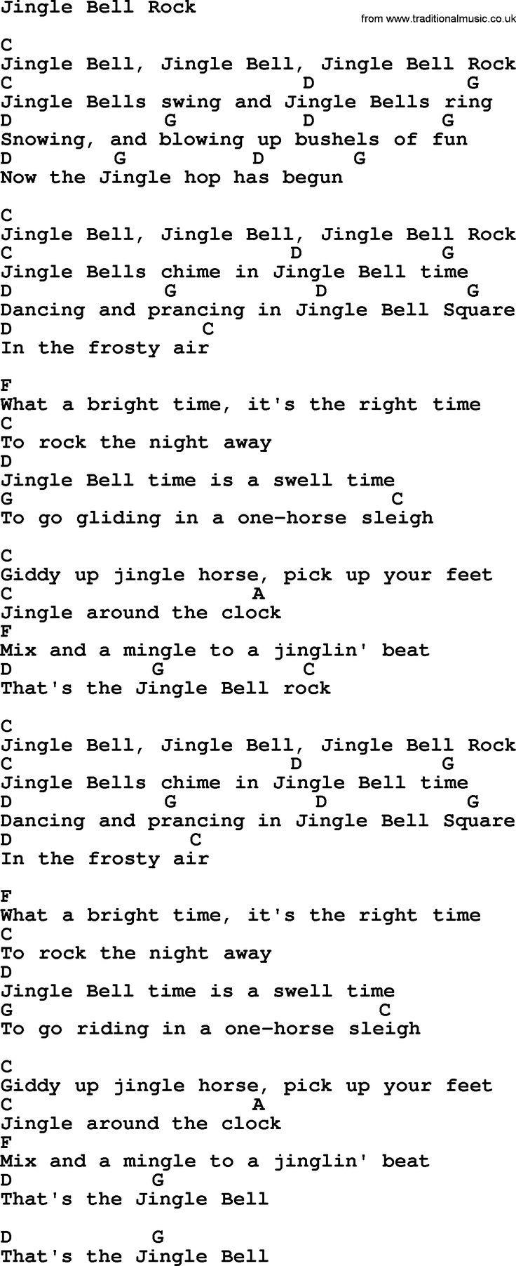 George Strait song: Jingle Bell Rock, lyrics and chords | Ukulele songs, Christmas ukulele songs ...