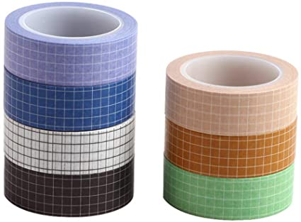 7 Rolls Grid Washi Tape Set 10m 33ft Colorful Writable Paper Adhesive Masking Tapes 15mm 3 5in Width Sticky Paper Tape In 2020 Washi Tape Sticky Paper Washi Tape Set