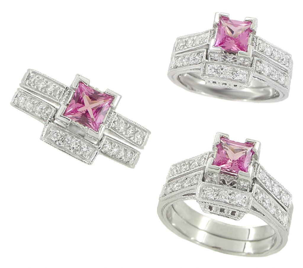 Unique Design Pink Sapphire Wedding Ring Sets With 30ct Ctw Diamond