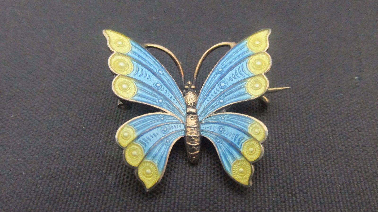 Sterling Silver Yellow and Blue Enamel Butterfly Pin