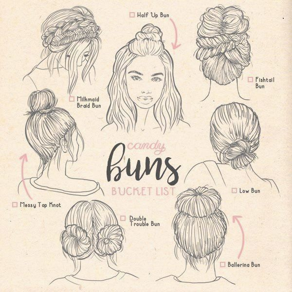 Braids Drawing Reference Types Of Buns Buns Ilustration Types Thaddeustypes Of Buns Buns Ilustration T Hair Sketch How To Draw Hair Types Of Buns