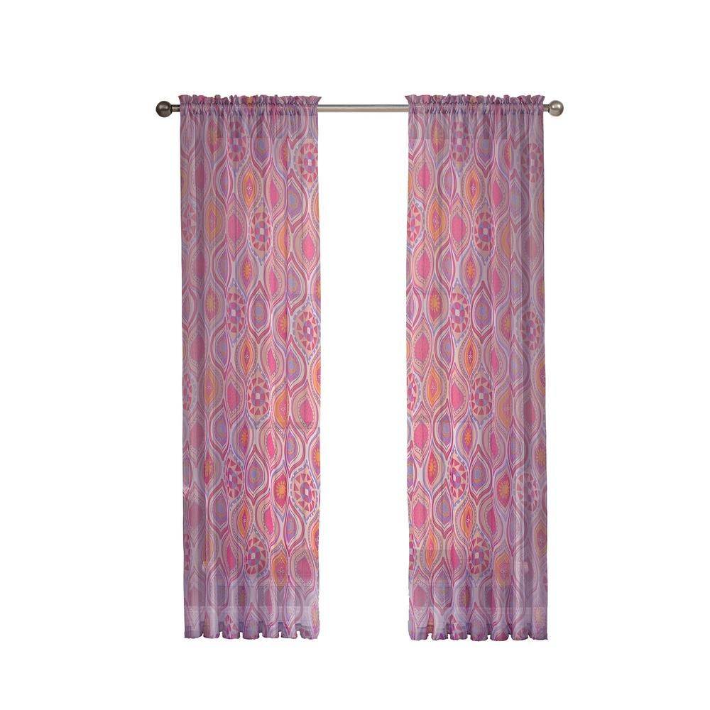 Window Elements Olina Printed Sheer Pink Grommet Extra Wide Curtain Panel 54 In W