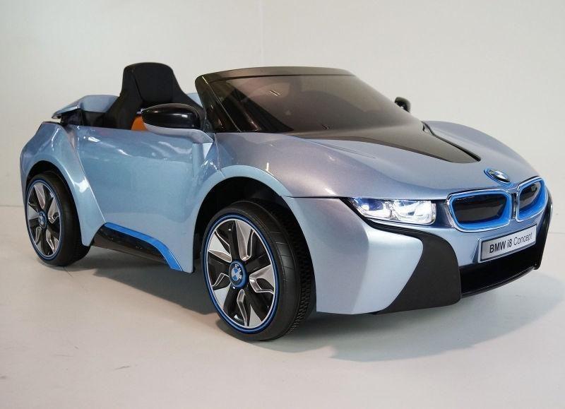 Bmw I8 Blauw 12v Accu Auto Met Lederen Zitje Kinderauto