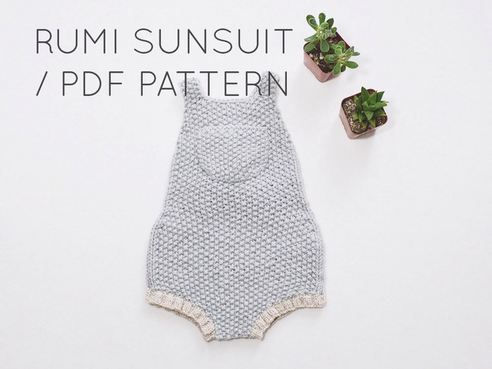 Rumi Sunsuit PDF Download// Baby Romper Onesie Knitting Pattern ...