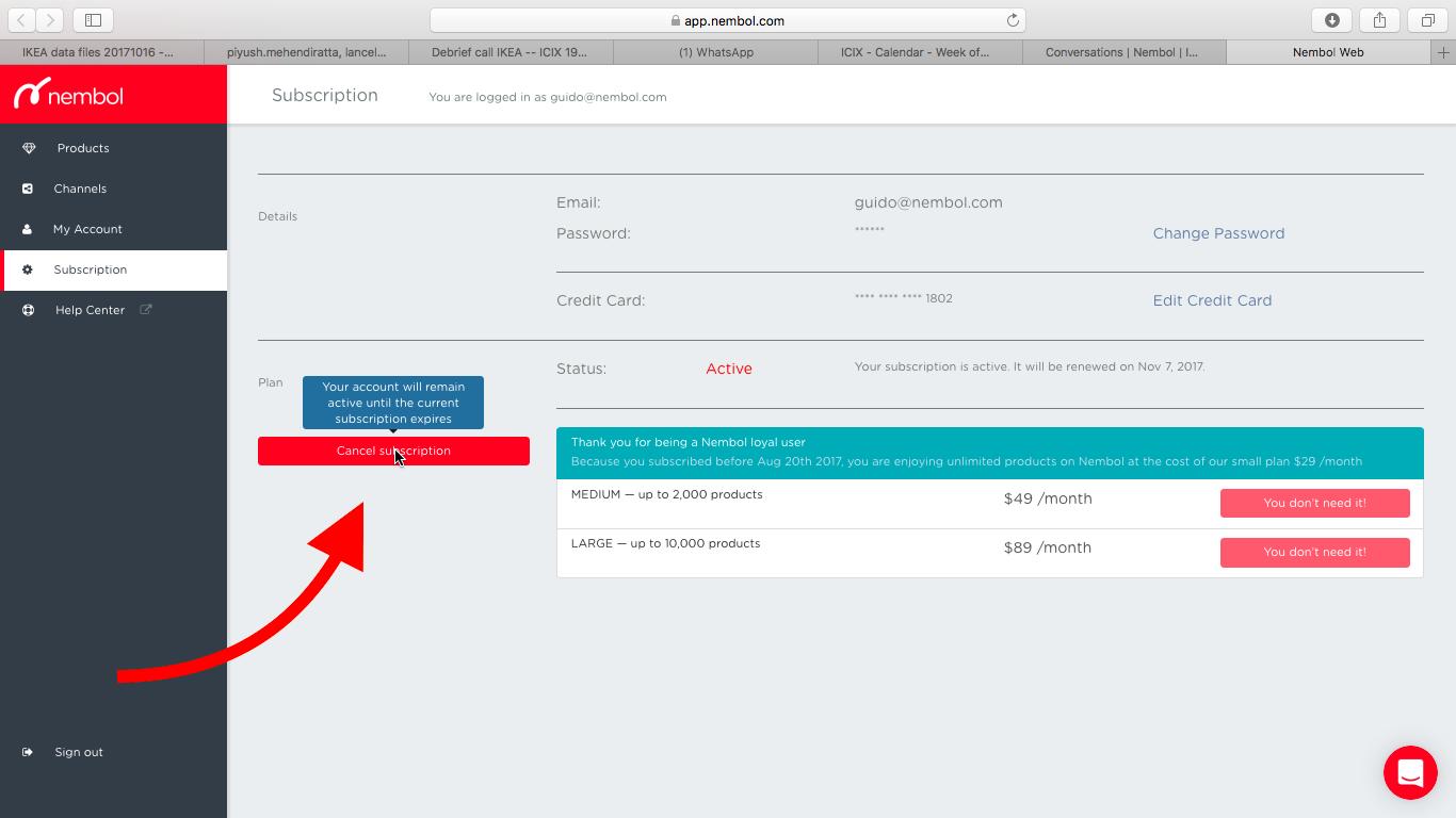 How to cancel your Nembol Web subscription Online retail