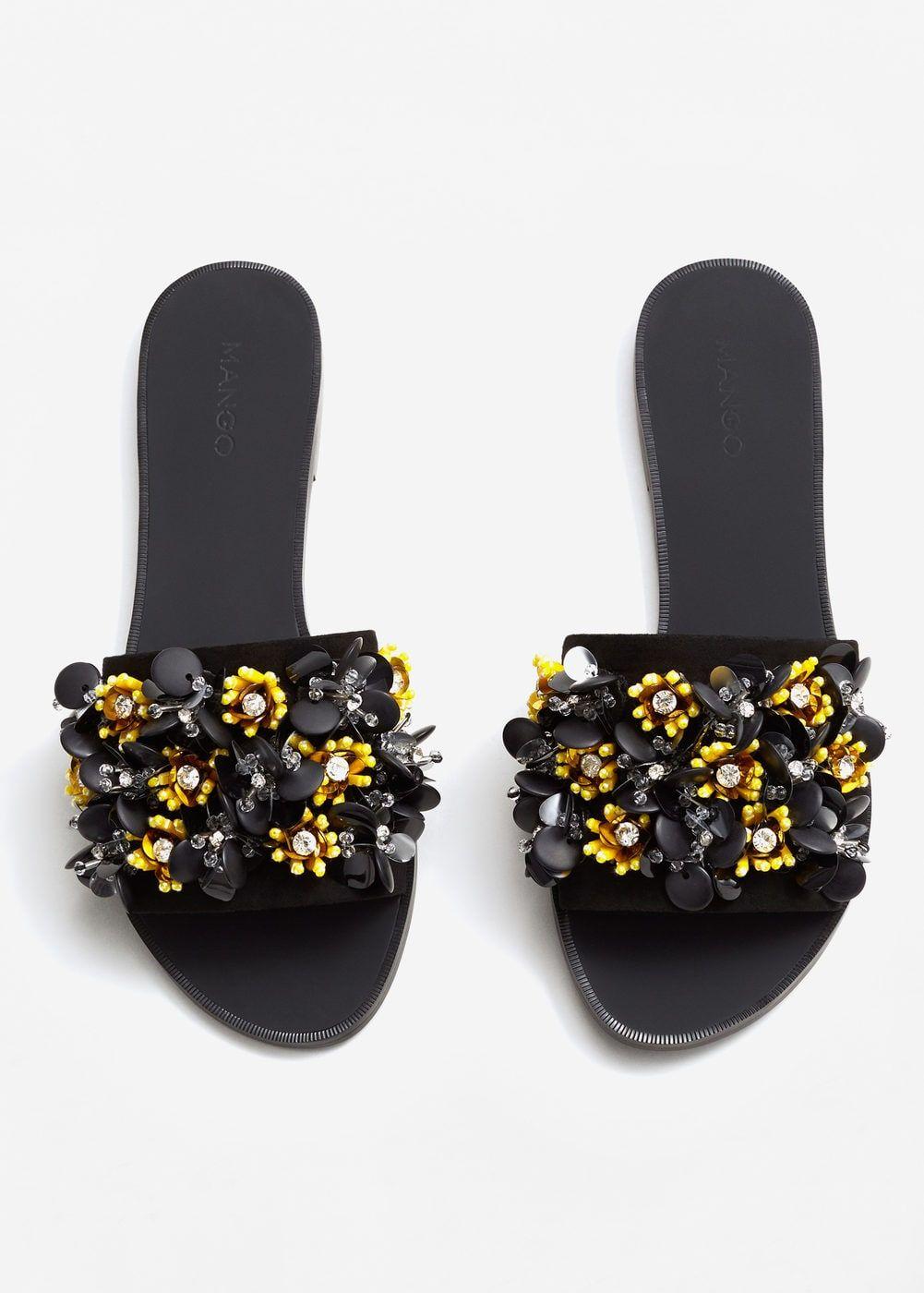 Womens Pearl Faux Fur Slides Mules Sliders Beach Summer Sandals Trendy Designer