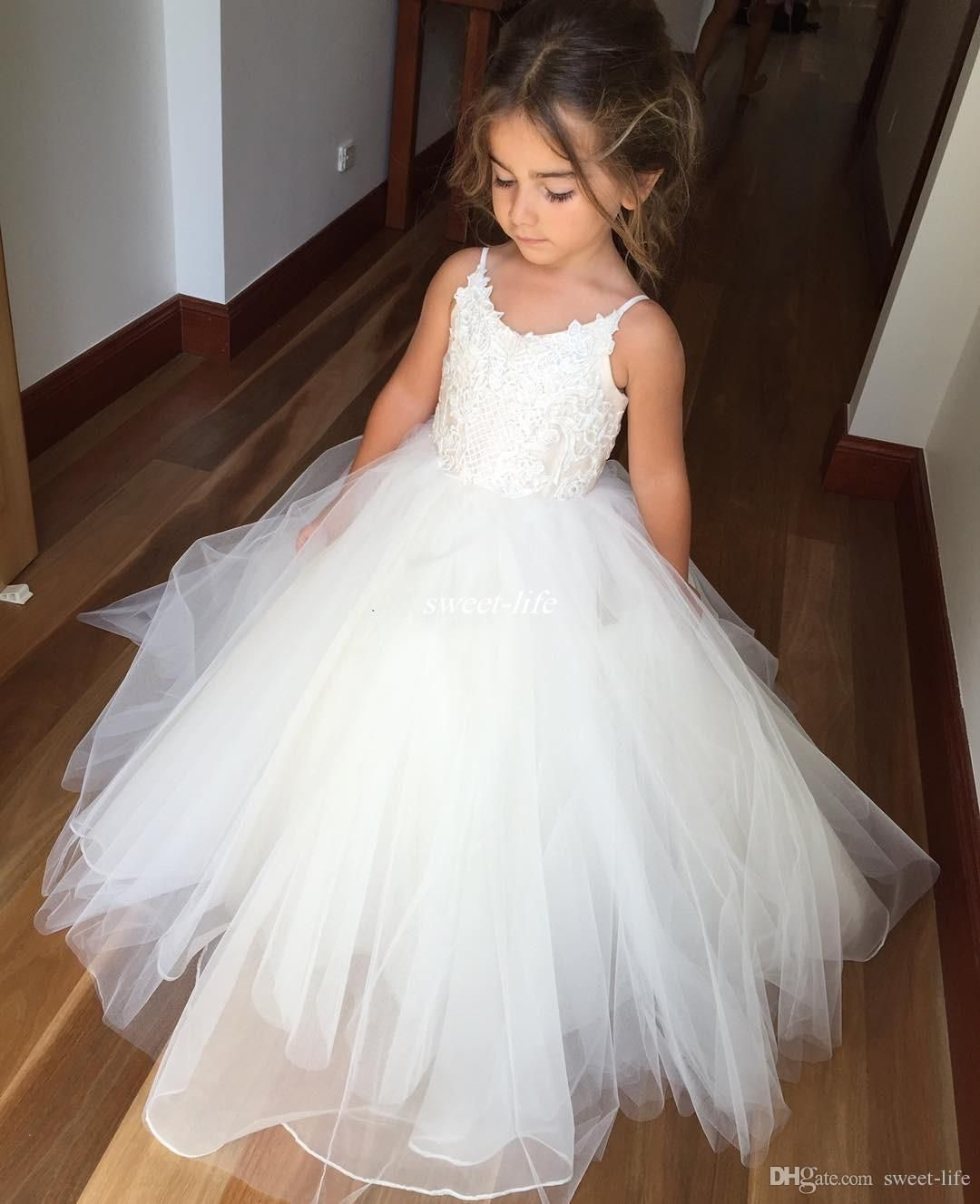 154056842cf6 White Ball Gown Tulle Flower Girl Dresses for Vintage Wedding Spaghetti  Straps…