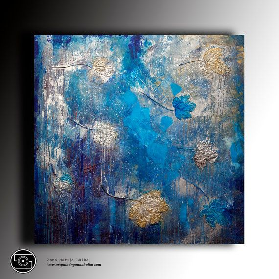 Art painting Abstract Painting Modern textured painting Canvas Painting Woman Modern Original Art blue silver wall art by Anna Bulka