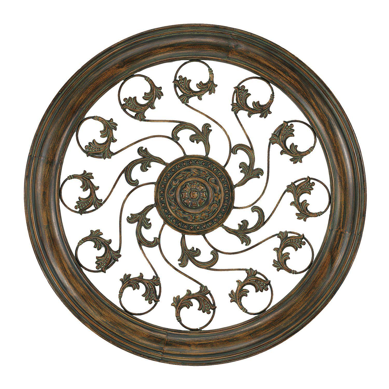 Paragon aged round vine medallion metal art decor universe