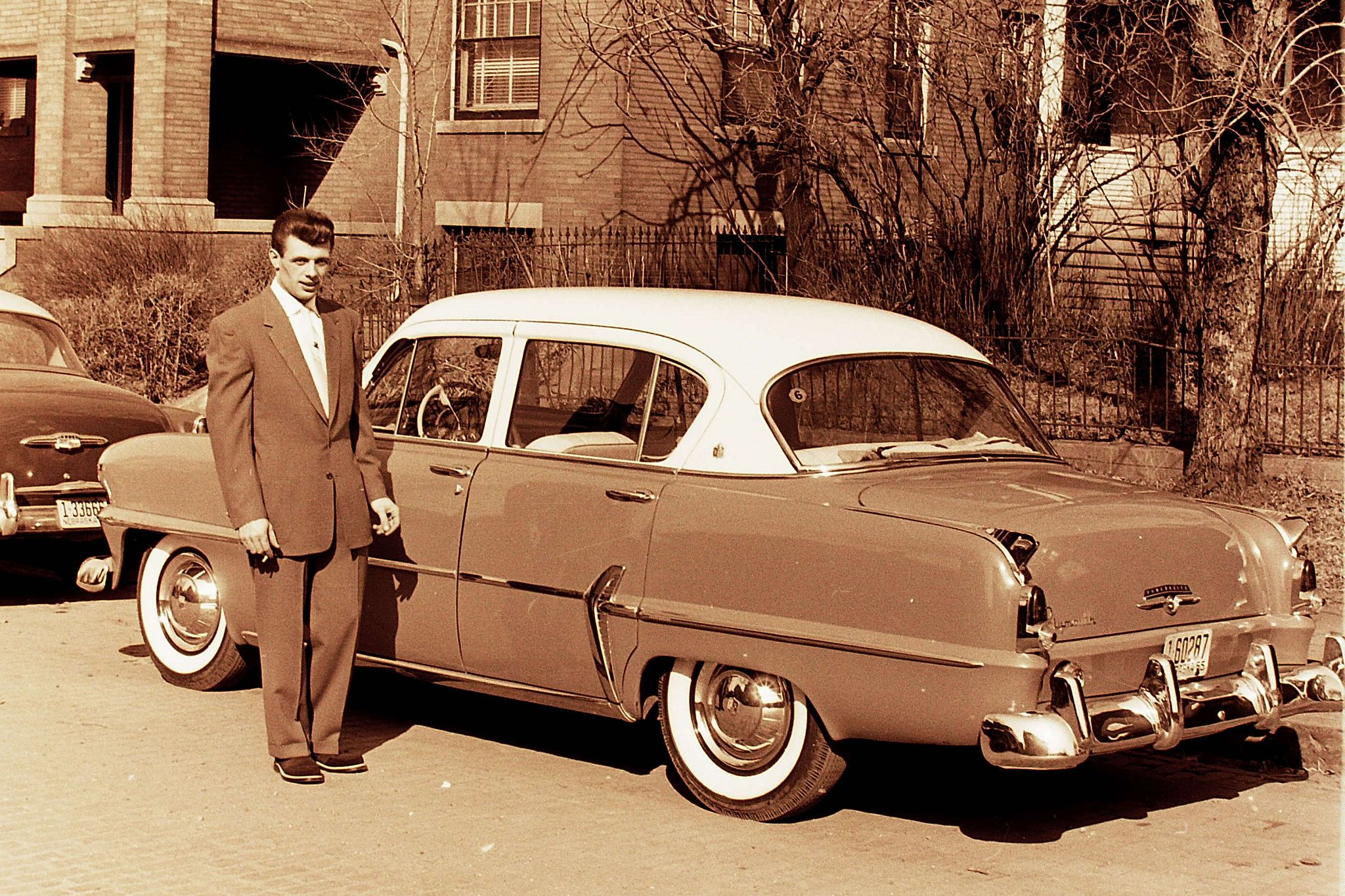 Vintage Found Photo - A man and his car... | Plymouth, License ...