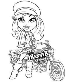 Biker Girl Cute Sassy Digi Stamp By Kennyk Stamps Biker Girl