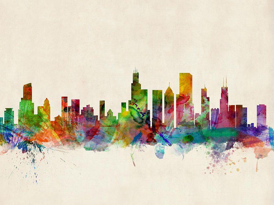 Chicago City Skyline Digital Art | Arte | Pinterest | Pinturas y Arte