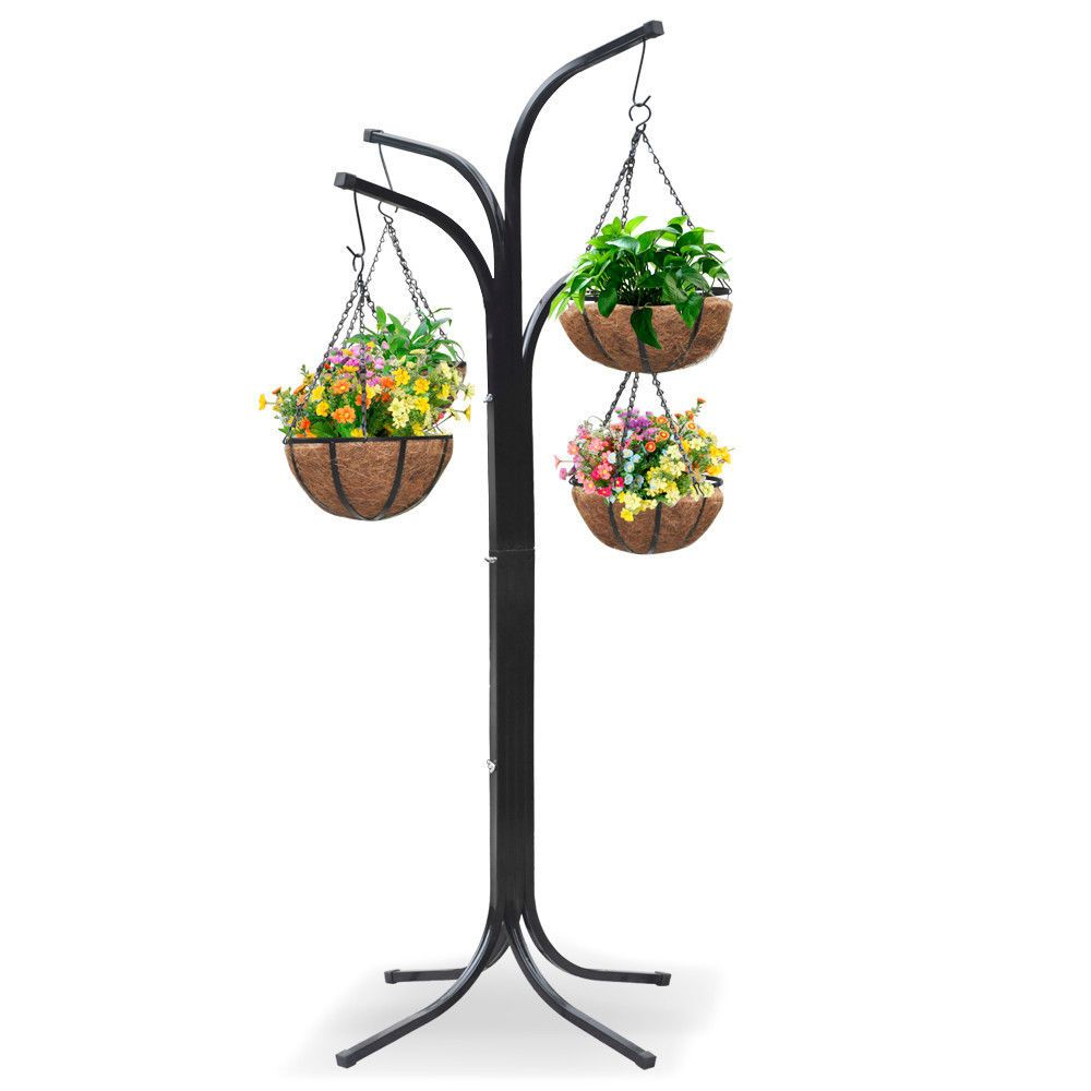 Plant Stand Hanging Holder Basket Patio Outdoor Flower Decor Garden Planter Gift #Worldpride1