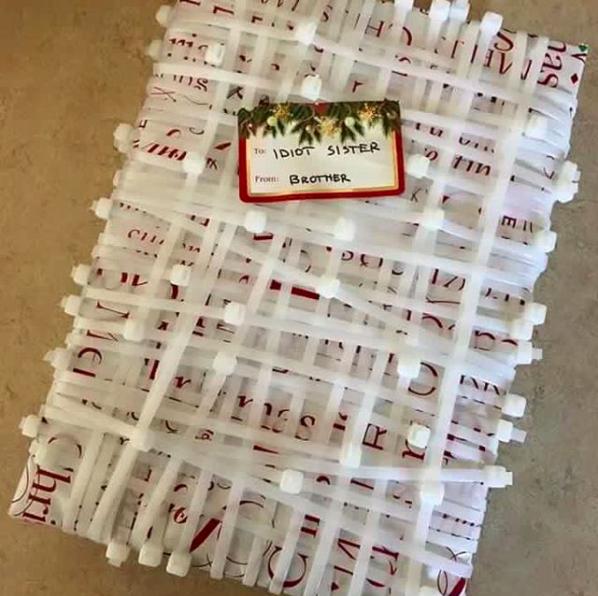 Christmas Pranks.Cover A Gift With Endless Zip Ties Christmas Pranks