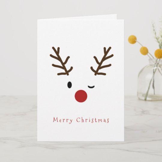 Cute Winking Rudolf Reindeer Christmas Holiday Car