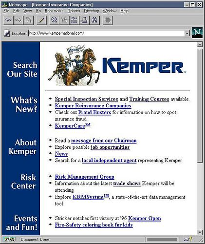 First Kemper National Insurance Website 1996 Web Screenshots