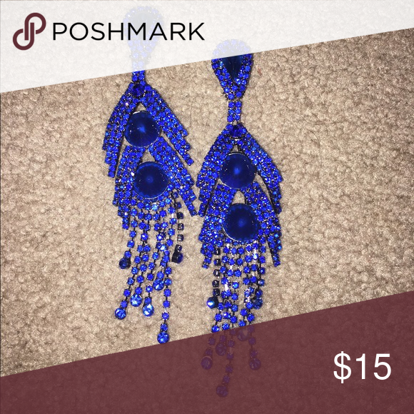 Blue Rhinestone Earrings Blue Rhinestone Earrings. Worn once for a pageant. Will sell for cheaper on P.P. (as I know shipping can be expensive on here), just message me! Jewelry Earrings