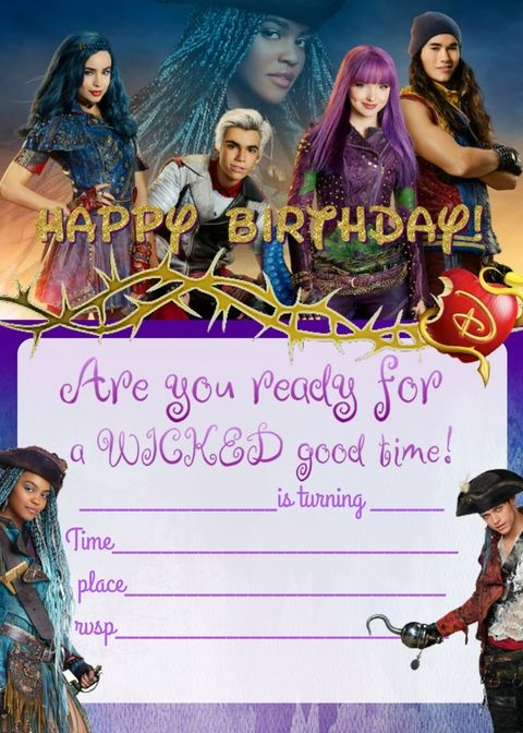 Pin By Alexander Alamo On Descendants 2 Party Printables