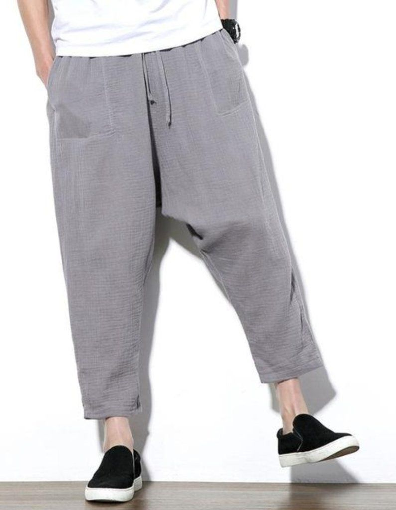 561f509f158 MOO Loose Fit Drop Crotch Linen Tapered Trousers Sirwal in Grey ...