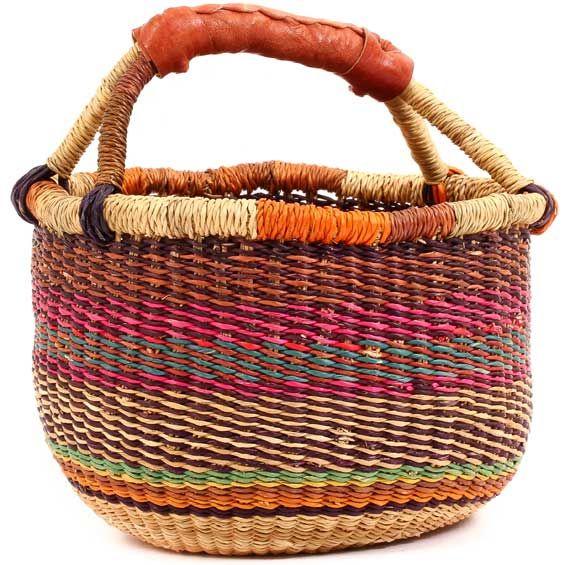 African Mini Market Basket - Ghana Bolga -  8 Inches Across - #54033
