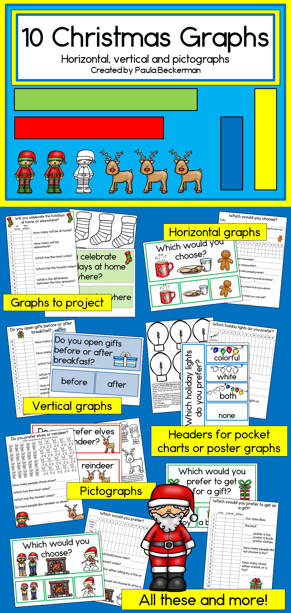 Christmas Graphs (Horizontal, Vertical and Pictograph learning fun ...
