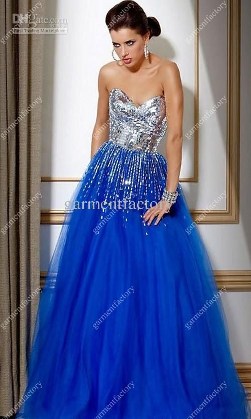 Royal Blue Sparkly Prom Dress - Missy Dress