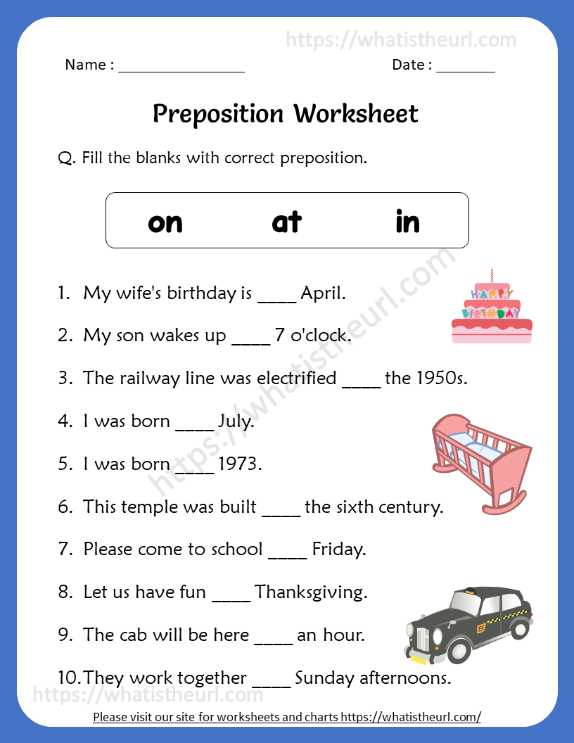 Preposition Worksheets for 4th Grade in 2020 Preposition