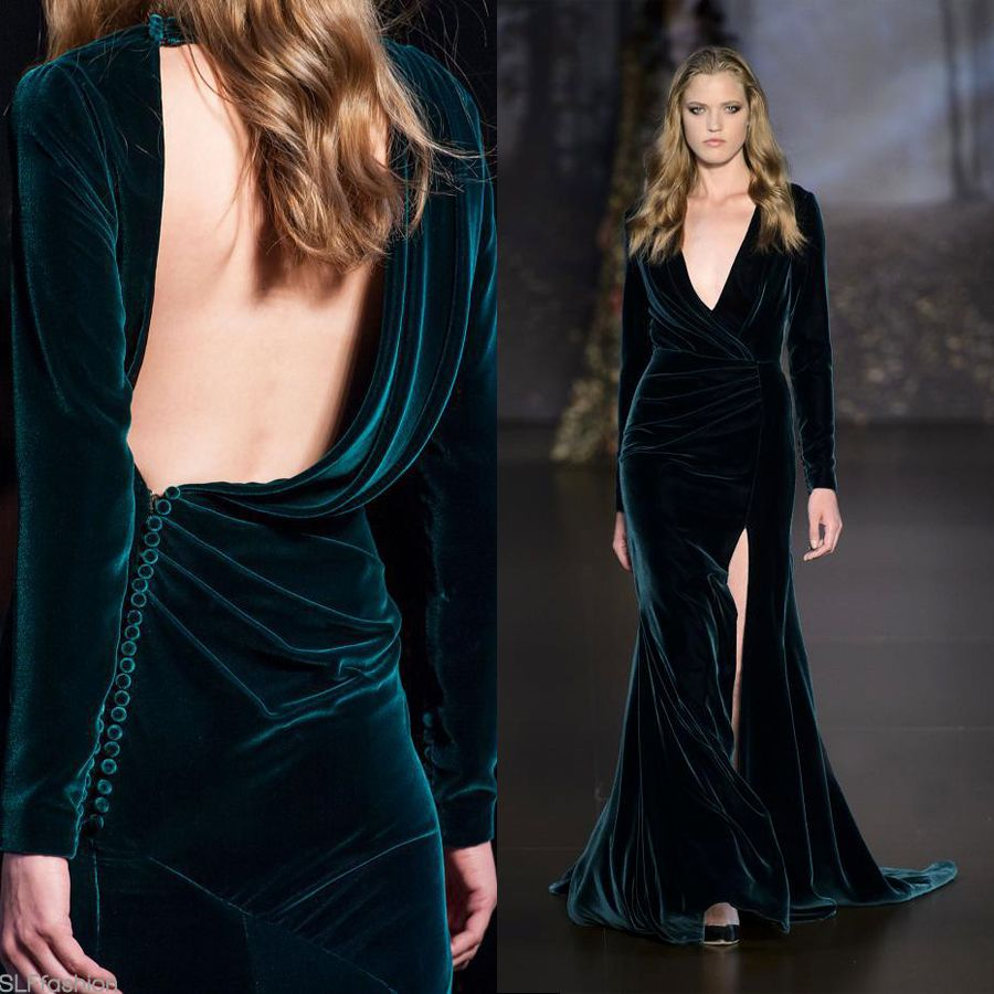 Teal-green velvet gown. Best look at Ralph & Russo Fall Winter 2015 ...