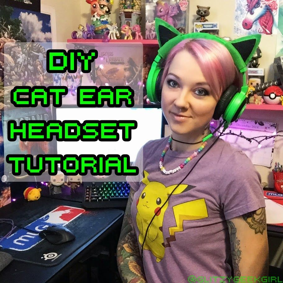 Tutorial DIY Felt Cat Ear Headset Cat ear headset, Felt