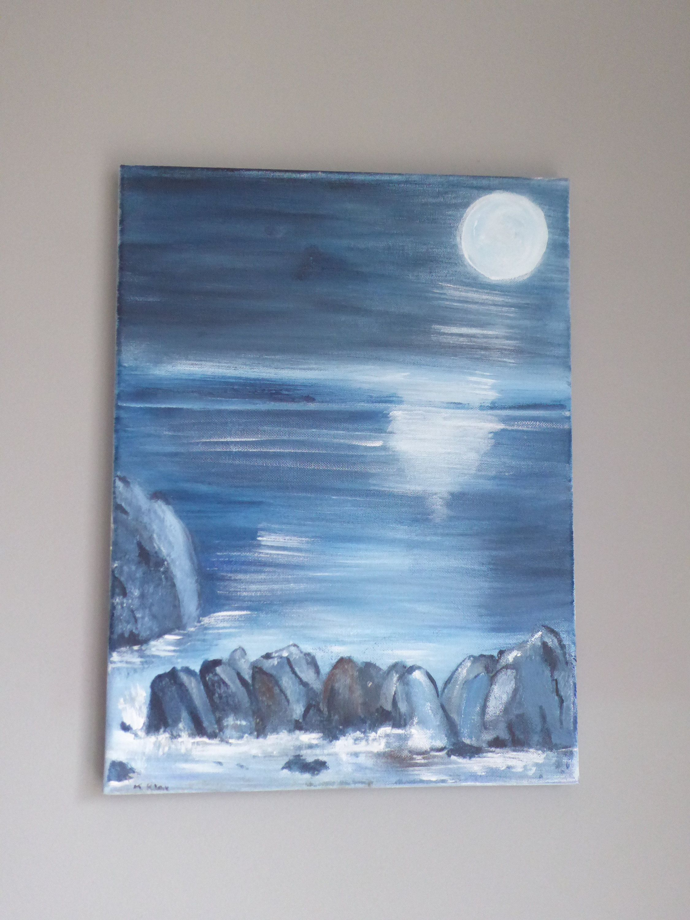 Original Acrylic painting moonlit sea and rocks, Acrylic canvas, Blue painting, Moonlight painting, Seascape art, Canvas painting