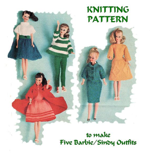 Instant Download Pdf Vintage Sixties Knitting Pattern To Make Barbie