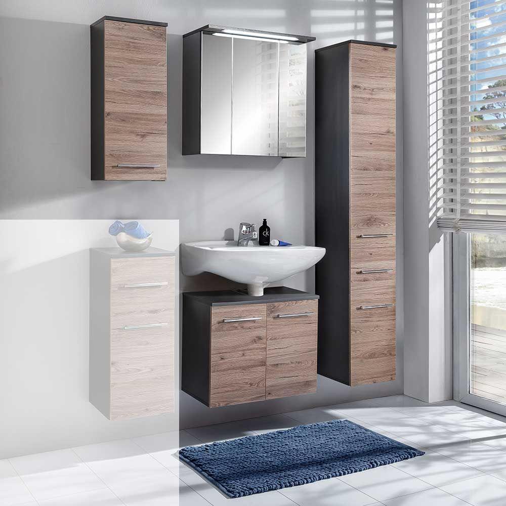 Badezimmermöbel in Bordeaux Eiche Anthrazit 4 teilig Jetzt