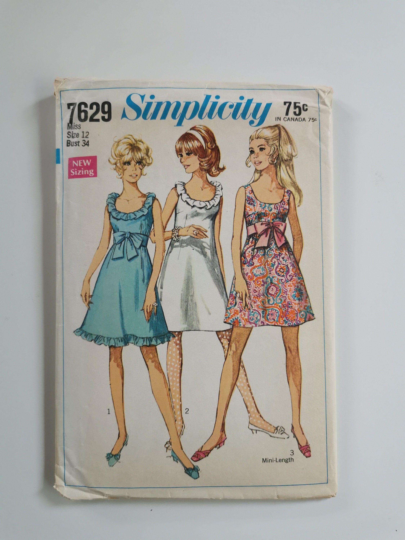 Vintage Dress Pattern Sewing Pattern For A Line Dress 60s Etsy Sewing Patterns Dress Sewing Patterns Summer Dress Patterns