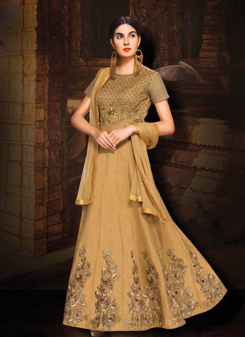 ea3ebec553 buy saree online Beige Colour Banglori Silk Embroidered Border Lace Work  With Party Wear Gown Buy Saree online - Buy Sarees online