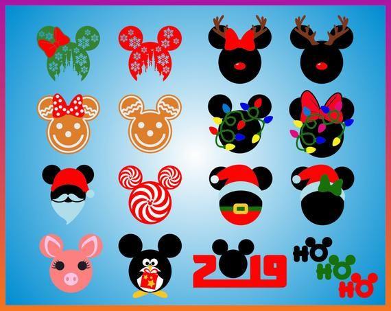 Christmas Minnie Mouse Svg.Disney Christmas Mickey Svg Minnie Svg Claus Silhouette