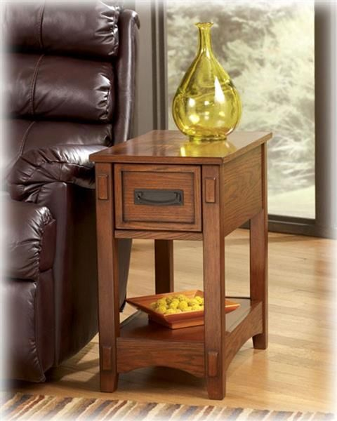 Contemporary Brown Wood Chairside End Table