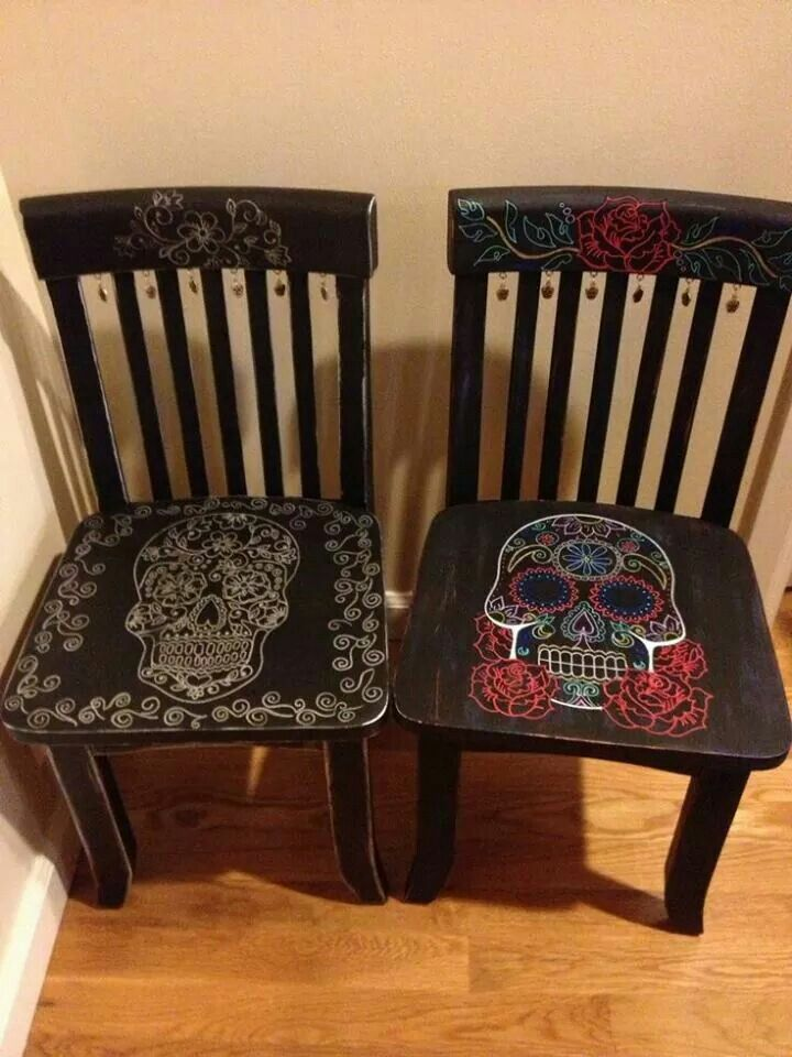 Delicieux Mod Podge Sugar Skull Chairs