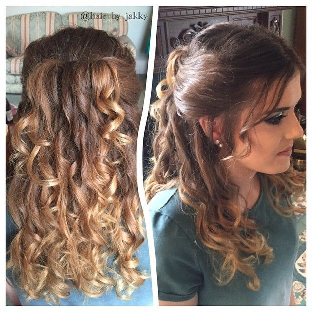 Half up curls. - #hair #hairup #updo #hairstyles #instabraid #cgh #cutegirlshairstyles #hairdresser #hairdressing #hairofinstagram #instahair #fabulous #pretty #curls #followme #weddinghair #prom #promhair #party #partyhair  #bridalhair #hairdesign #mobilehair #telford #braids #plaits