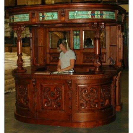 oak irish french canopy HOME BACK BAR furniture antique st covered Tiffany  Glass - Vintage Style Canopy English Home Bar Tavern With Tiffany Stained