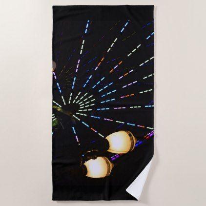 Ferris Wheel At Night Neon Carnival Beach Towel Vintage Gifts