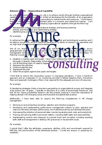 Management - Achieves Results - Organisational Capability - resume for consulting