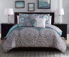 Project Runway Katrina Aqua Gray Queen 6 Piece Comforter Set Big Lots Comforter Sets Bed Linens Luxury Luxury Comforter Sets