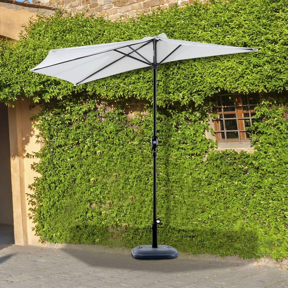 Outdoor Half Round Shape Parasol Aluminum Frame Beige